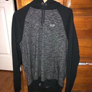 Hollister Black and Grey Men's Hoodie